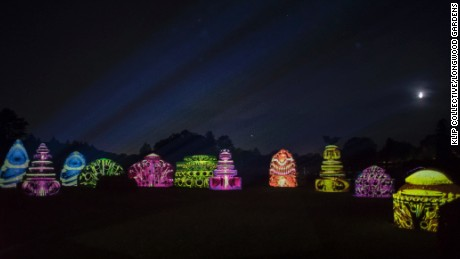 Klip Collective's show lights up Longwood Gardens at night.