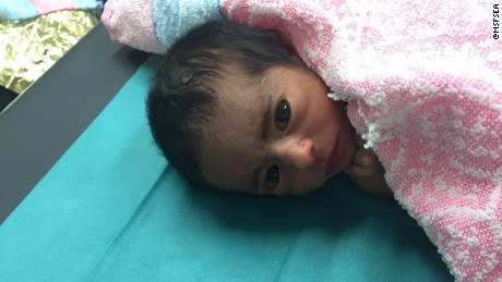 MSF tweeted this picture of a five-day-old newborn in August.