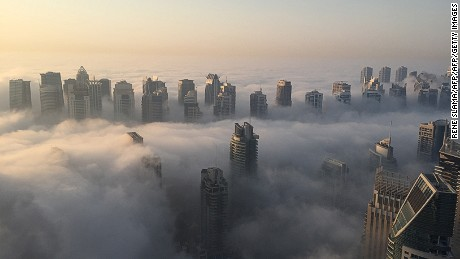 Could London's skyline morph into Dubai's futuristic cityscape -- seen here shrouded by early morning fog?