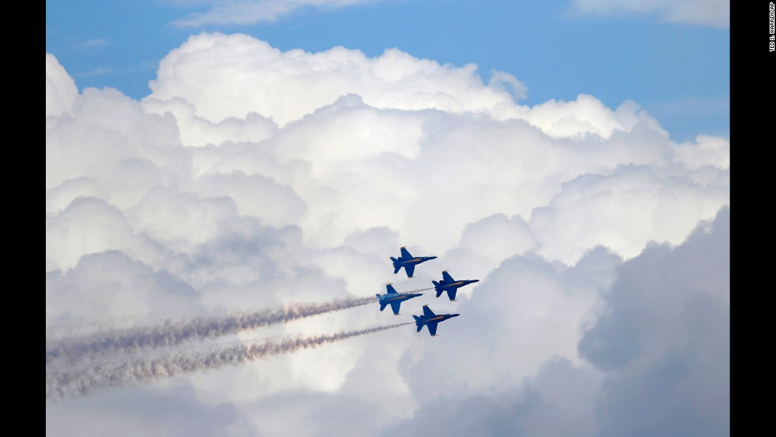 The Blue Angels, the U.S. Navy's flight demonstration squadron, perform during an air show in Seattle on Sunday, August 7.