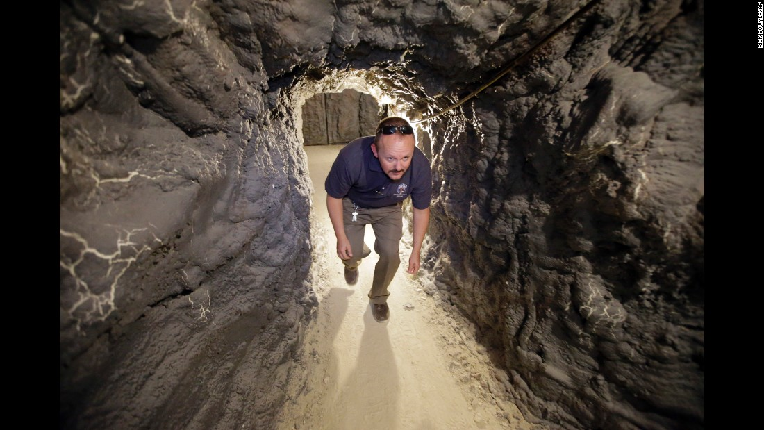 Scientist Lance McEntire walks through the Branch Tunnel, a subterranean training facility in the U.S. Army's Dugway Proving Ground on Wednesday, August 24. Inside the Utah facility, soldiers learn to search for and identify weapons of mass destruction.