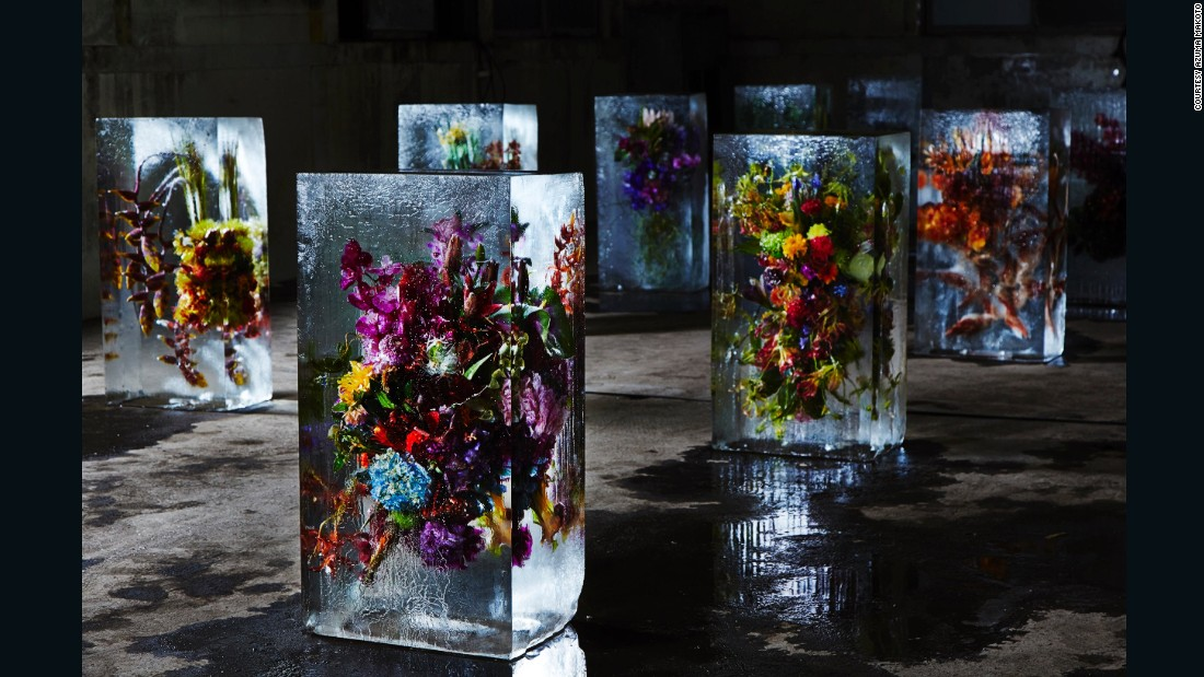 """""""I think my mission as flower artist is to create something new out of flowers by adding our artificial inputs, or to give flowers new life in totally new situation. I believe that's what my work is about and that's what I must do,"""" says Azuma."""