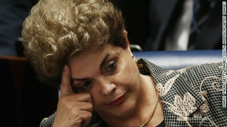 BRASILIA, BRAZIL - AUGUST 29:  Suspended President Dilma Rousseff sits during a question from a Senator on the Senate floor during her impeachment trial on August 29, 2016 in Brasilia, Brasil. Senators will vote in the coming days whether to impeach and permanently remove Rousseff from office.  (Photo by Mario Tama/Getty Images)