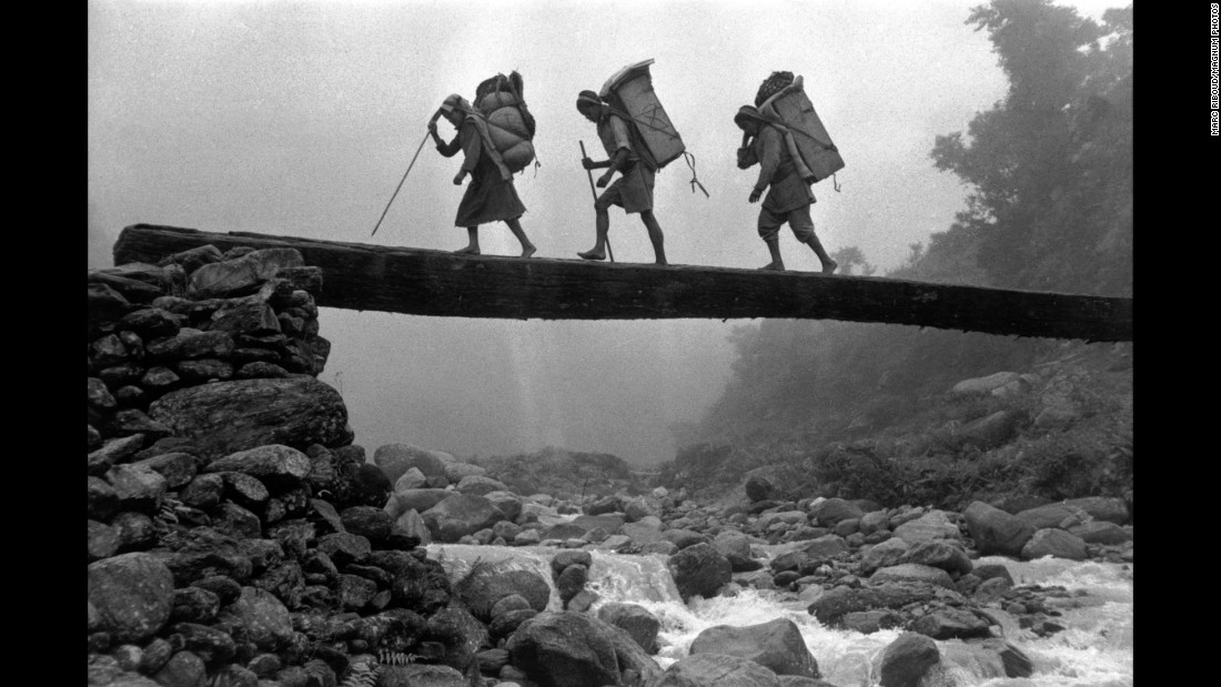 Members of a Swiss expedition return from Mount Everest in Nepal.