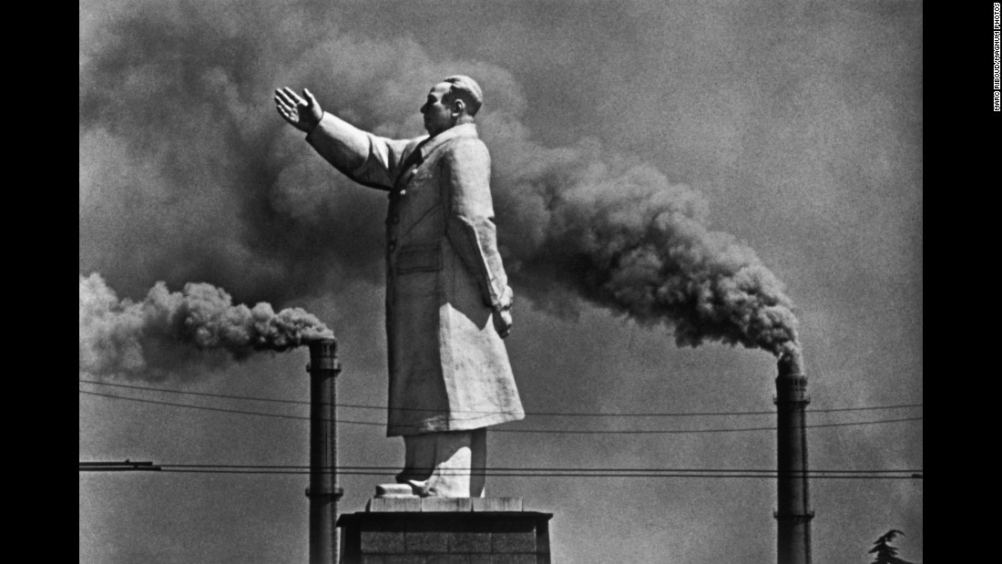 """A statue of Chinese leader Mao Zedong is seen in an industrial center of Wuhan, China, in 1971. Riboud """"was a terrific photographer, and of particular note was his pioneering work in China, which he first visited in the late 1950s and continued to photograph over the next three decades,"""" said Magnum President Martin Parr."""