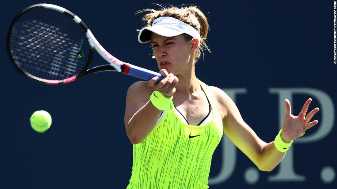 Canada's Eugenie Bouchard crashed out in three sets (6-3 3-6 6-2) to Katerina Siniakova of the Czech Republic.