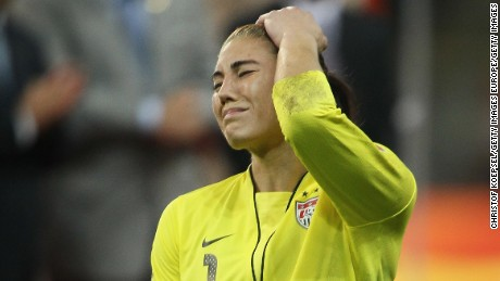 FRANKFURT AM MAIN, GERMANY - JULY 17:  Hope Solo of the USA looks dejected after losing 3-5 after penalty shoot-out the FIFA Women's World Cup Final match between Japan and USA at the FIFA World Cup stadium Frankfurt on July 17, 2011 in Frankfurt am Main, Germany. (Photo by Christof Koepsel/Getty Images)