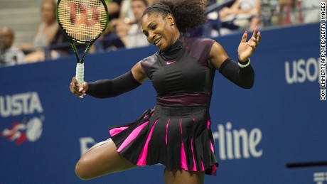 Serena Williams of the US reacts to a point against Ekaterina Makarova of Russia during their 2016 US Open Women's Singles match at the USTA Billie Jean King National Tennis Center on August 30, 2016 in New York.  / AFP / DON EMMERT        (Photo credit should read DON EMMERT/AFP/Getty Images)