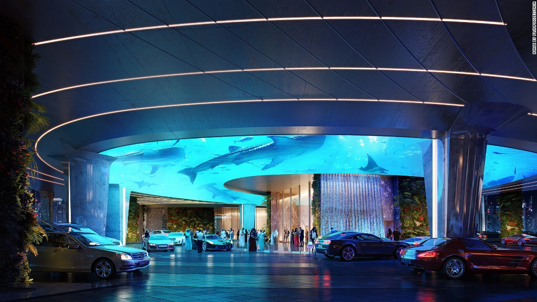 Even arriving at the hotel will be pretty spectacular. The drop-off area will be lit by animated projections inspired by the natural world.