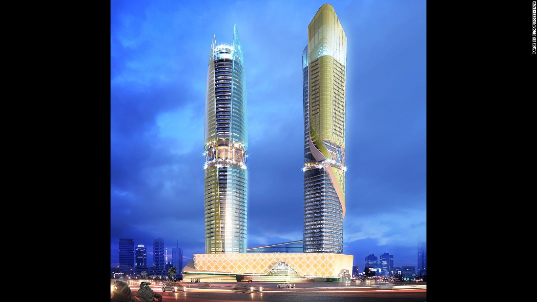 The facade of the hotel tower's (pictured right) is inspired by a flowing river, and will feature lighting animations. The serviced apartment tower (left) is designed to resemble a shell and a pearl.