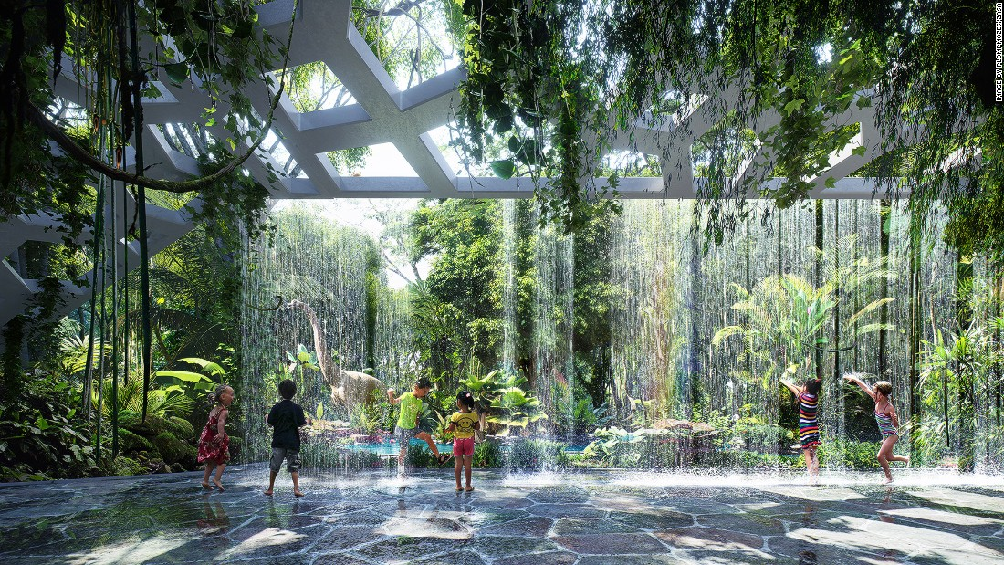 Sprawling across 7,000 square meters, the outdoor rainforest will feature adventure trails, a sand-less beach, a splash pool, waterfalls, streams, a rainforest cafe and an artificial rain room (pictured).
