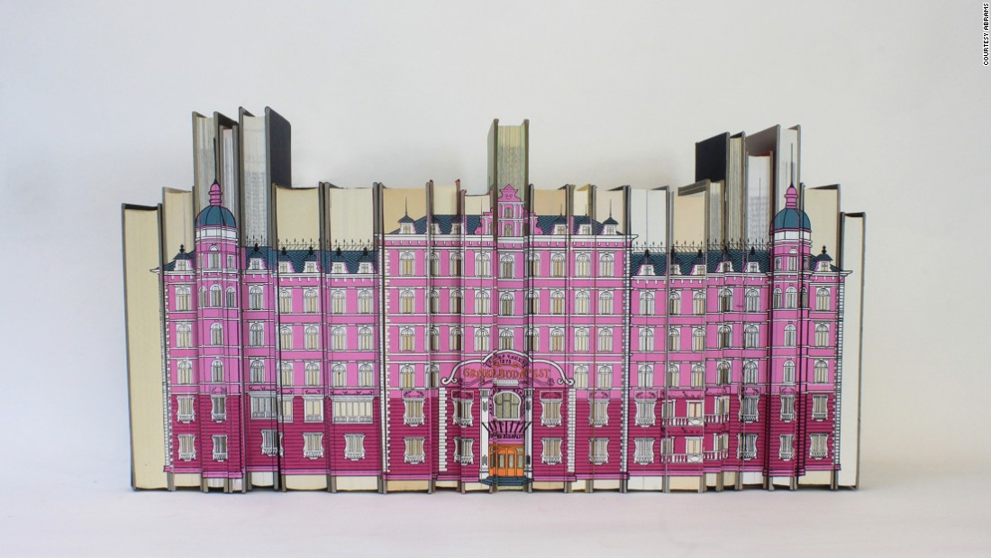 """Screen print on reclaimed books recreated the Grand Budapest Hotel, as seen in """"Grand Budapest Hotel."""""""