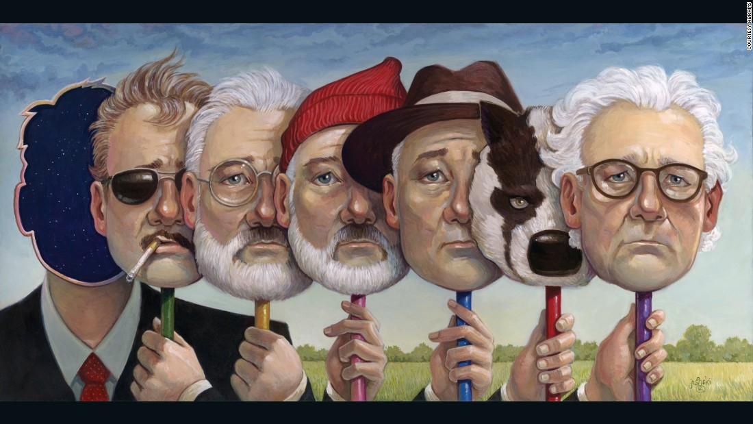 """Bill Murray's characters in (L-R) in """"Rushmore,"""" """"The Royal Tenenbaums,"""" """"The Life Aquatic with Steve Zissou,"""" """"The Darjeeling Limited,"""" """"Fantastic Mr Fox,"""" and """"Moonrise Kingdom."""""""