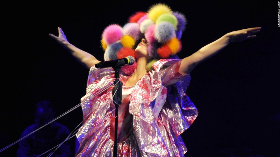 Björk in concert at the Hammersmith Apollo music venue in London in 2008.