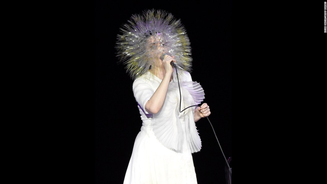 """Björk performs onstage during her """"Vulnicura"""" tour at the Kings Theatre in New York in 2015."""