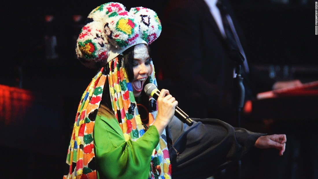 Björk performs on stage during the Big Day Out at Mt Smart Stadium in Auckland, New Zealand.