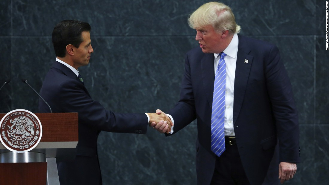 "Mexican President Enrique Peña Nieto, left, greets U.S. presidential candidate Donald Trump during a meeting in Mexico City on Wednesday, August 31. They discussed the wall that Trump vowed to build on the U.S.-Mexico border, but Trump said they didn't talk about his demand that Mexico pay for it -- <a href=""http://www.cnn.com/2016/08/30/politics/donald-trump-enrique-pea-nieto-mexico/index.html"" target=""_blank"">an assertion the Mexican President later disputed.</a>"