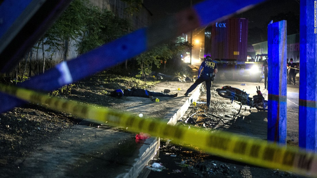 "Police work at a crime scene in Manila, Philippines, where two suspects were shot dead at a checkpoint on Sunday, August 28. New President Rodrigo Duterte campaigned hard on <a href=""http://www.cnn.com/2016/08/03/asia/philippines-war-on-drugs/"" target=""_blank"">a no-nonsense approach to crime,</a> and on several occasions he has hinted openly that he doesn't oppose his police force or even citizens taking the lives of suspected criminals. Critics see the approach as a complete disregard of due process. <a href=""http://www.cnn.com/2016/08/28/asia/philippines-voices-drugs-war/index.html"" target=""_blank"">Duterte's crackdown: 6 stories from the front lines</a>"