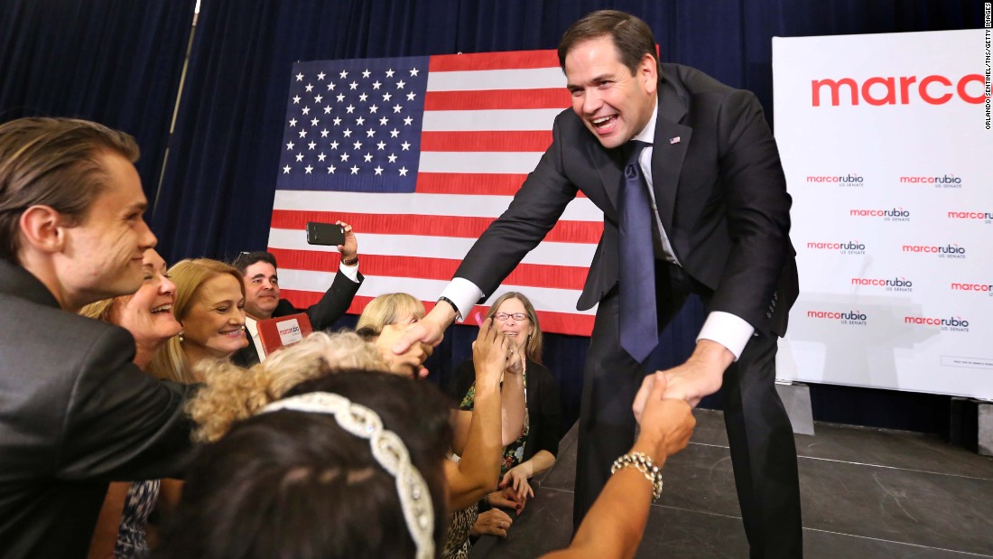 "U.S. Sen. Marco Rubio greets supporters in Kissimmee, Florida, after <a href=""http://www.cnn.com/2016/08/30/politics/john-mccain-debbie-wasserman-schultz-marco-rubio-primary/"" target=""_blank"">winning the Republican primary</a> on Tuesday, August 30."