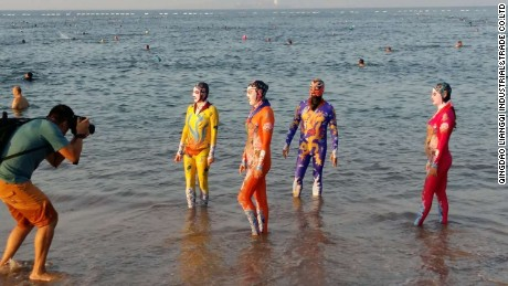 Zhang Shifan claims to be the inventor facekini. This design inspired by traditional Peking opera is among a number of new designs released by her company.
