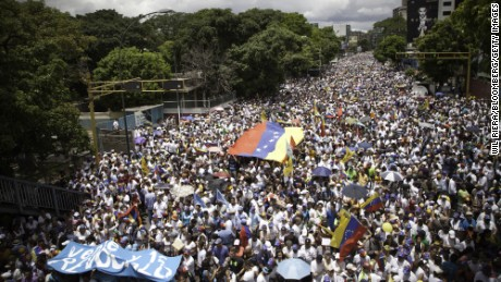 Crowds of opposition supporters march during a protest in Caracas, Venezuela, on Thursday, September 1. Venezuela's opposition marched today in Caracas to pressure government to hold recall referendum against President Nicolas Maduros rule.