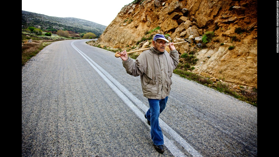 Active lifestyles in combination with healthy, balanced meals eaten early are revered as being the key to living a long and healthy life. Pictured, a 99-year-old man on a daily three-mile uphill walk to tend a herd of goats on Ikaria.