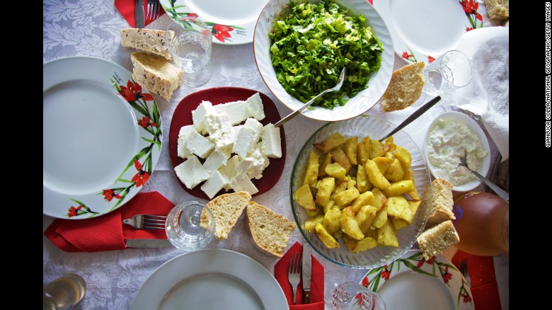 The Ikarian diet includes fruits, vegetables, beans, fish and olive oil.