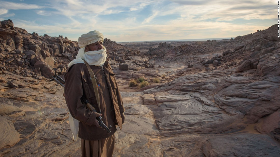 Political instability in Libya spread south in 2012, with Islamic militants waging war on parts of Mali, claiming Timbuktu in and derailing Jubber's journey. Pictured, a Tuareg tribesman looks on in the Meggedat valley, Libya.
