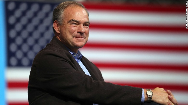 Democratic vice presidential nominee U.S. Sen Tim Kaine (D-VA) looks on during a campaign rally with democratic presidential nominee former Secretary of State Hillary Clinton at the David L. Lawrence Convention Center on July 30, 2016 in Pittsburgh, Pennsylvania.