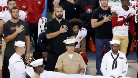 Image result for Colin Kaepernick continues anthem protest before Chargers game