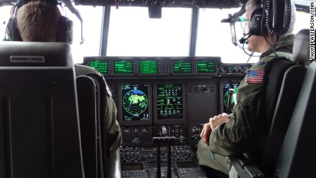 Inside Hermine, visibility on the flight deck of an Air Force Hurricane Hunter was zero at times.