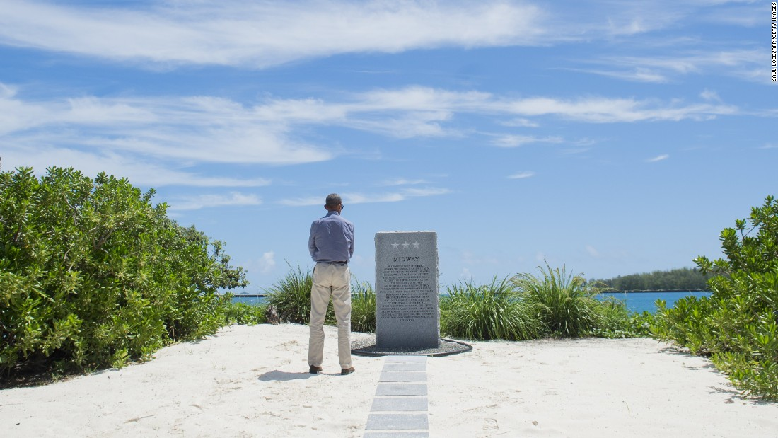 At Midway Atoll, Obama calls for preservation in the Pacific