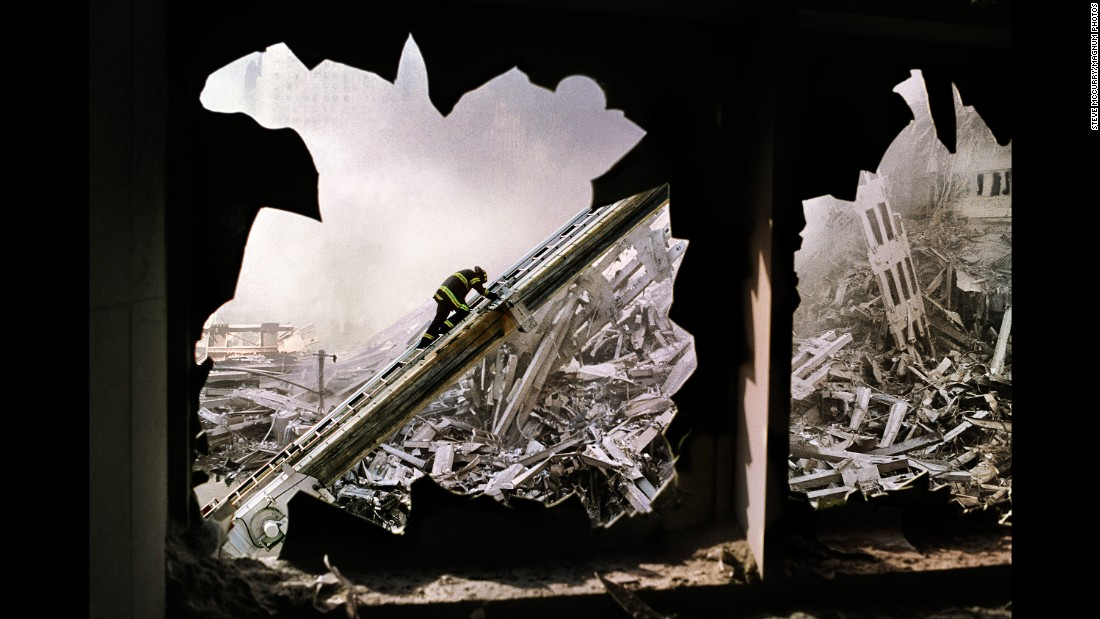 "Steve McCurry's haunting image of a lone firefighter amid the ruins of ground zero. On September 11, 2001, Magnum photographers, in New York for a meeting, witnessed the events of the day. CNN's Ray Sanchez spoke with a few of those photographers about the images they captured, which were published in a book called ""New York September 11."""