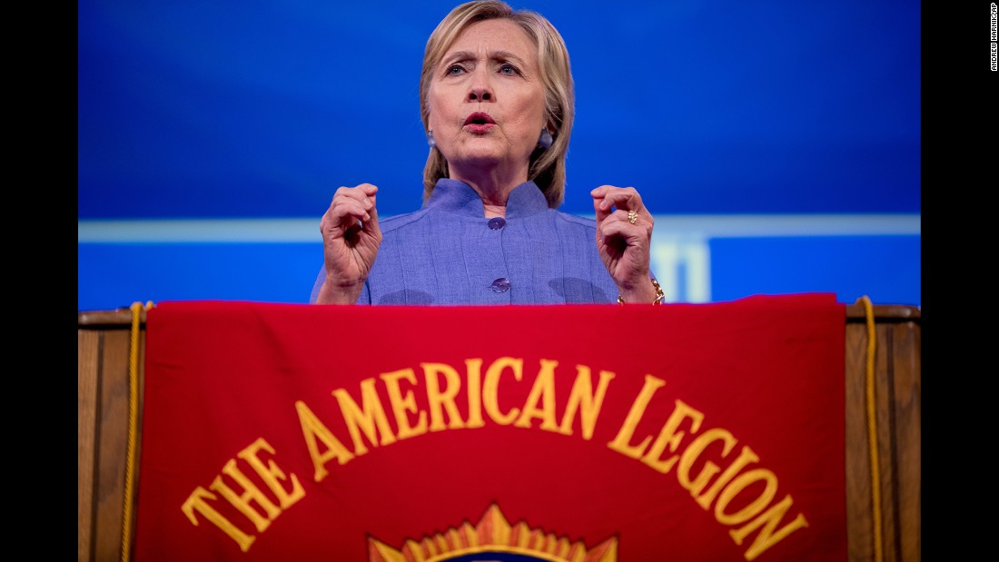 Democratic presidential nominee Hillary Clinton speaks at the American Legion's annual convention Wednesday, August 31, in Cincinnati.