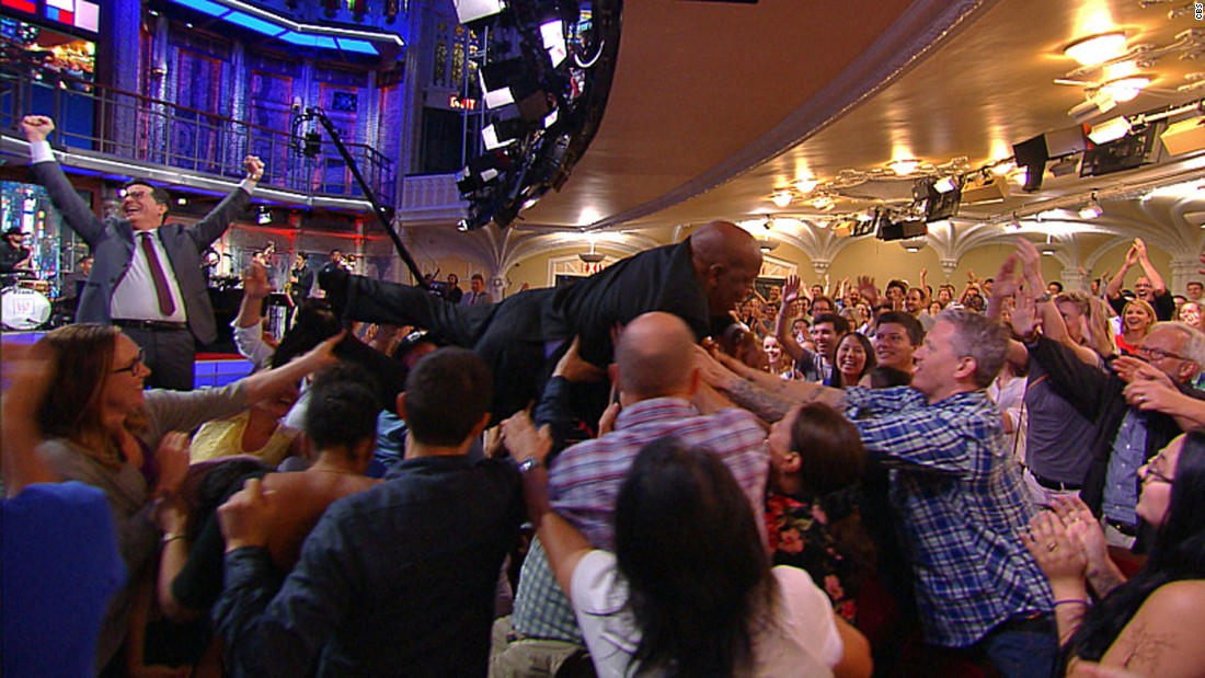 """U.S. Rep. John Lewis, a civil rights icon from Georgia, <a href=""""http://www.cnn.com/2016/09/01/politics/john-lewis-crowd-surfs-trnd/"""" target=""""_blank"""">crowd-surfs</a> during a taping of """"The Late Show with Stephen Colbert"""" on Wednesday, August 31."""