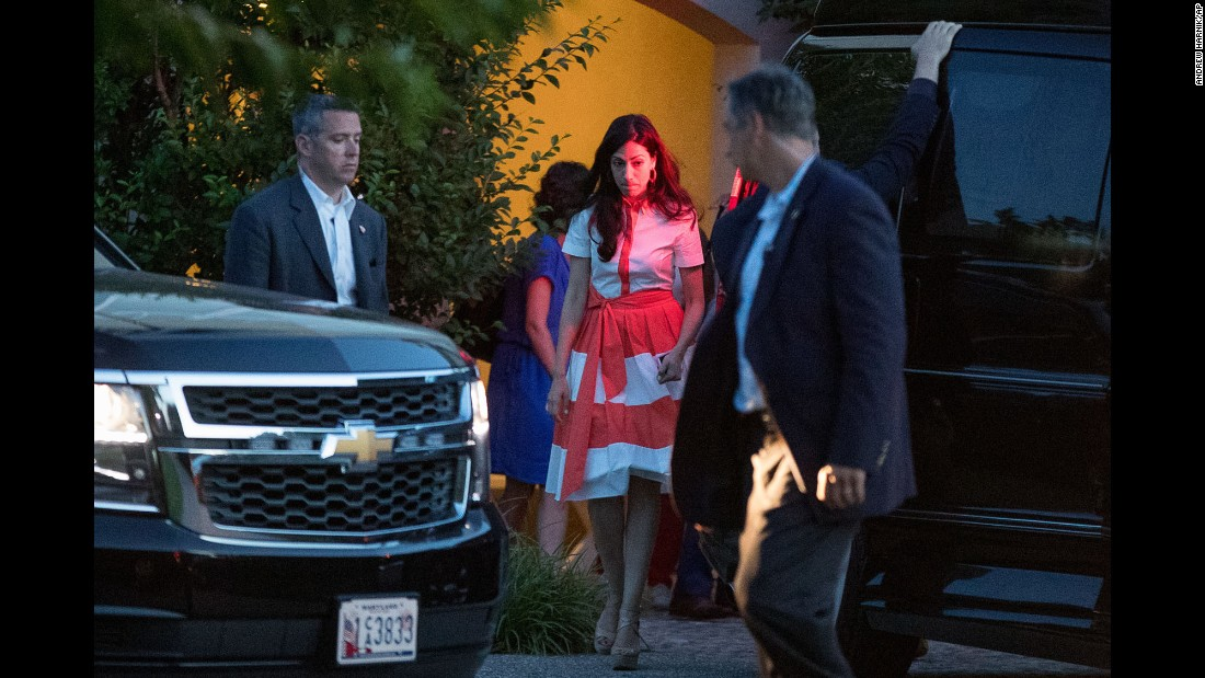"""Huma Abedin, senior aide to Democratic presidential nominee Hillary Clinton, leaves a fundraiser in Southampton, New York, on Sunday, August 28. The next day, Abedin <a href=""""http://www.cnn.com/2016/08/29/politics/anthony-weiner-sexting-trump-supporter/"""" target=""""_blank"""">announced that she was separating from her husband,</a> former U.S. Rep. Anthony Weiner, after new reports surfaced that he sent sexually suggestive photos to another woman. Weiner torpedoed his own political career five years ago with a sexting scandal."""