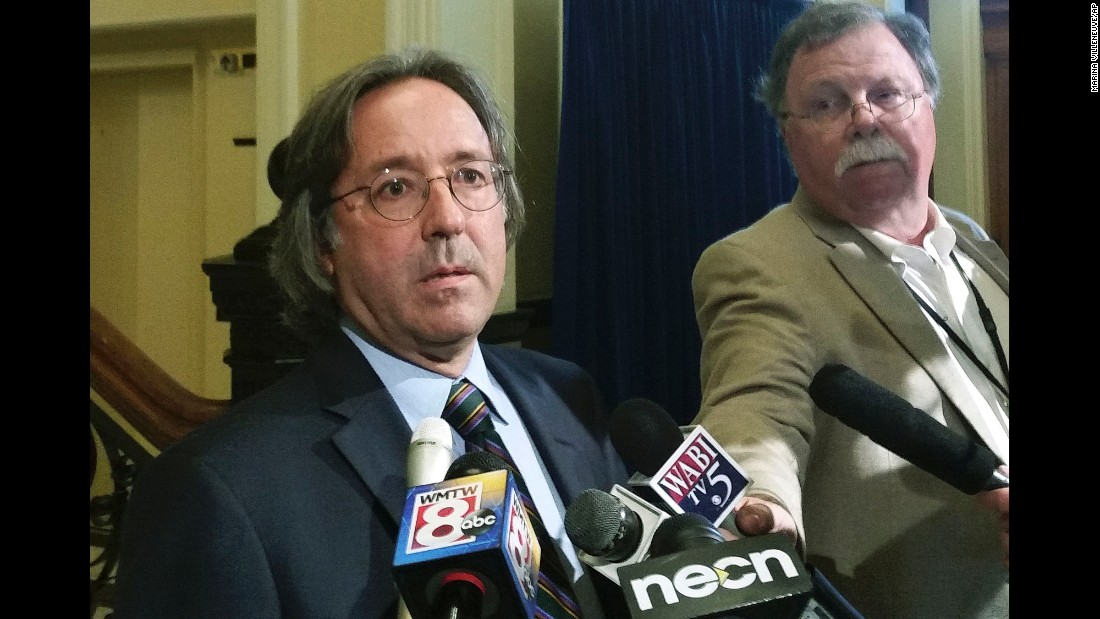 """Maine State Rep. Drew Gattine speaks to the media after meeting with Gov. Paul LePage in Augusta, Maine, on Wednesday, August 31. LePage apologized to Gattine for leaving <a href=""""http://www.cnn.com/2016/08/30/politics/paul-lepage-considering-resignation-after-voicemail/"""" target=""""_blank"""">a foul-mouthed voicemail message</a> for him last week. In the voicemail, the governor berates Gattine with expletives and threats, apparently in response to Gattine calling him a racist -- something Gattine denied saying in an interview with CNN. """"It's not something that I've ever called anybody,"""" he said."""