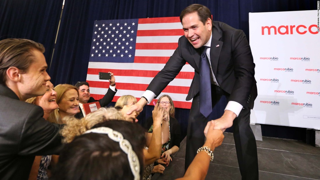 """U.S. Sen. Marco Rubio greets supporters in Kissimmee, Florida, after <a href=""""http://www.cnn.com/2016/08/30/politics/john-mccain-debbie-wasserman-schultz-marco-rubio-primary/"""" target=""""_blank"""">winning the Republican primary</a> on Tuesday, August 30."""