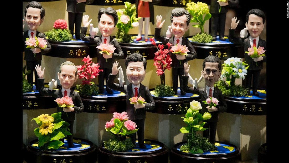 """Clay figures of world leaders are displayed at a shop in Hangzhou, China, on Thursday, September 1. On the bottom row, from left, are Russian President Vladimir Putin, Chinese President Xi Jinping and U.S. President Barack Obama. Hangzhou <a href=""""http://www.cnn.com/2016/08/30/asia/china-hangzhou-g20-2016/"""" target=""""_blank"""">hosts the G20 summit</a> on Sunday."""