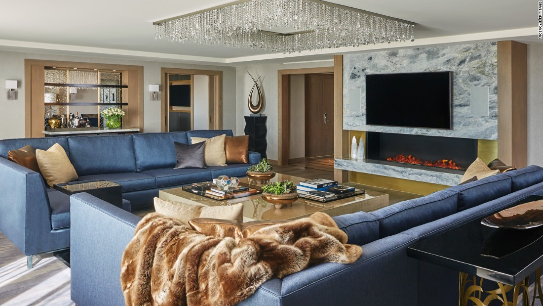 The new presidential suite at L'Ermitage is rich in textures and glittering accents befitting its Beverly Hills, California, location.