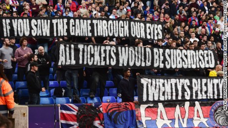 Crystal Palace fans  protest against rising ticket prices during an English Premier League in October 2015.