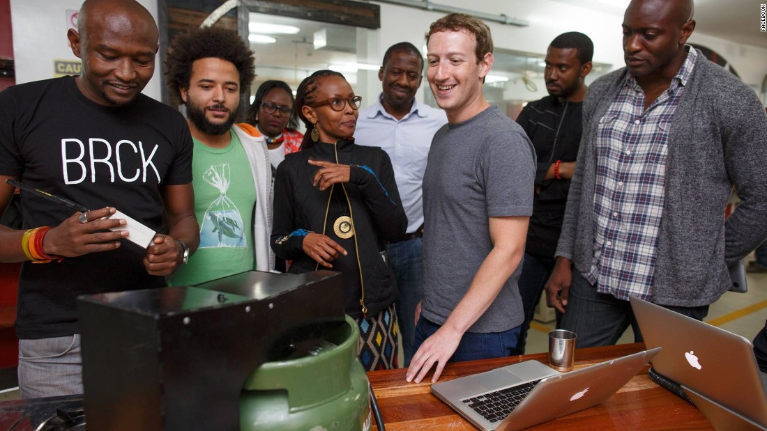 """In Nairobi, Kenya, Zuckerberg met with entrepreneurs and developers. """"It's inspiring to see how engineers here are using mobile money to build businesses and help their community,"""" he said in a Facebook post on September 1."""