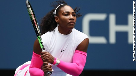 Serena Williams faces off against Johanna Larsson at the US Open.
