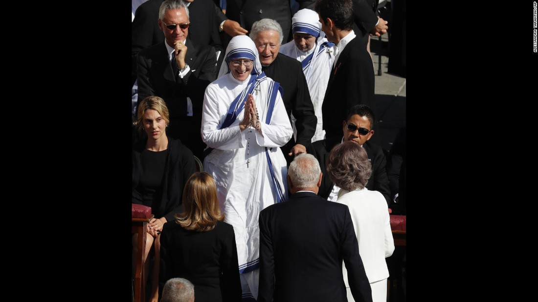 Queen Sofia of Spain, bottom right, greets Mother Superior of the Missionaries of Charity Sister Prema, center, ahead of a Canonization Mass by Pope Francis for Mother Teresa, in St. Peter's Square.