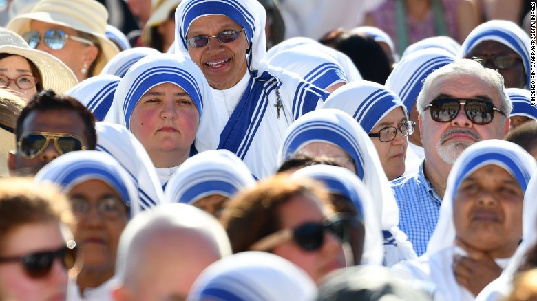 Nuns of the Missionaries of Charity wait in St. Peter's Square.