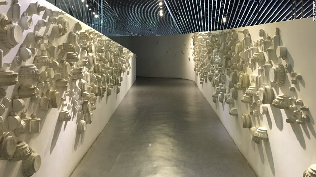 One corridor in the museum is decorated with land mines painted white -- intended to represent the indiscriminate nature of such a weapon.
