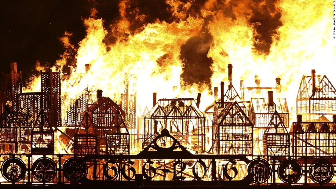 The huge installation was a dramatic retelling of the 1666 disaster when a fire, which started in a baker's shop, raged for four days destroying most of the timber-built city. More than 13,000 buildings were destroyed, including the original St Paul's Cathedral. London's city was eventually completely rebuilt by stone.