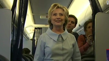 hillary clinton welcomes press to plane sot ath_00004526