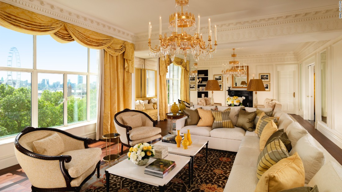 At the Savoy in London, the presidential suite stretches the length of the building's river-facing side, with seating arranged to make the most of the view.