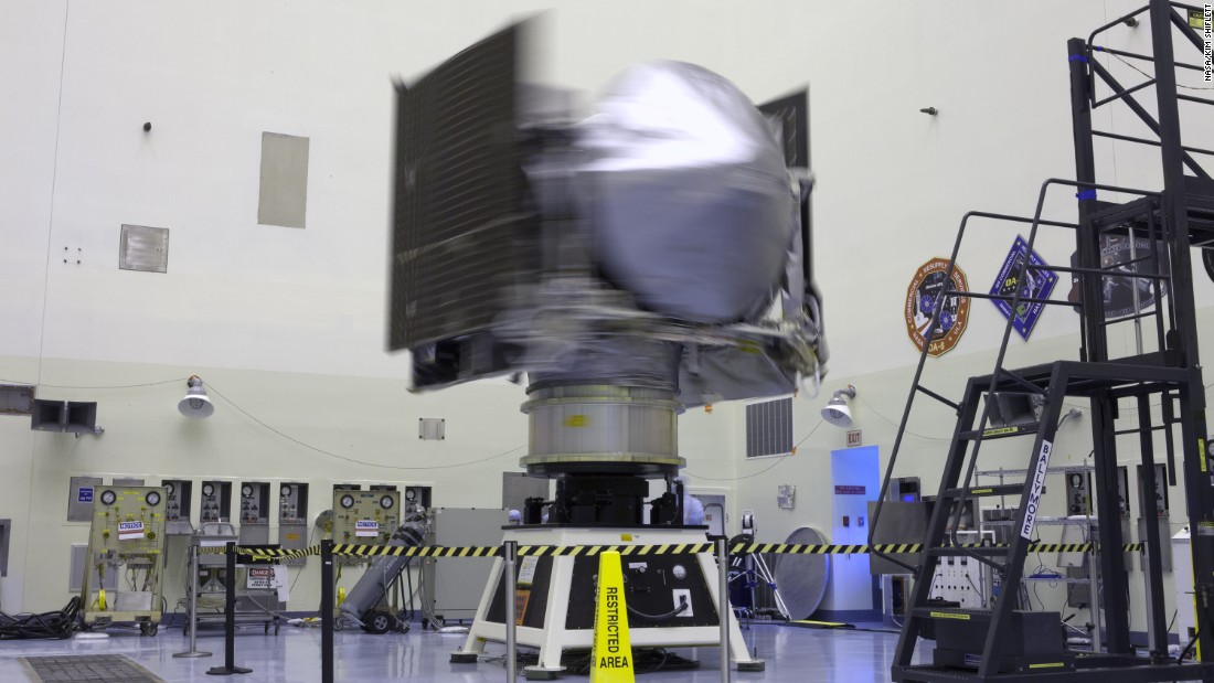 NASA's OSIRIS-REx spacecraft is rotated on a spin table during testing on May 24 at Kennedy Space Center.